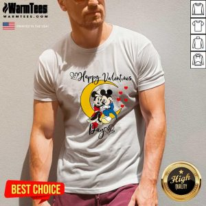 Mickey Mouse And Minnie Mouse Happy Valentines Day Valentine's Day V-neck - Design By Warmtees.com