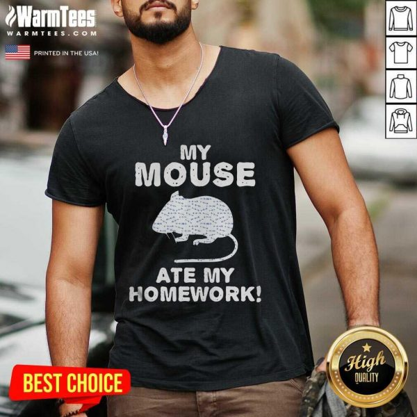 My Mouse Ate My Homework Rodent Rat Back To School V-neck - Design By Warmtees.com