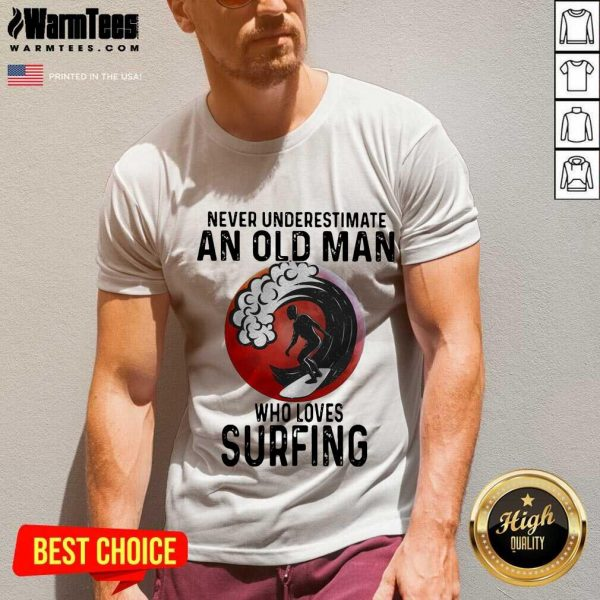 Never Underestimate An Old Man Who Loves Surfing The Moon V-neck