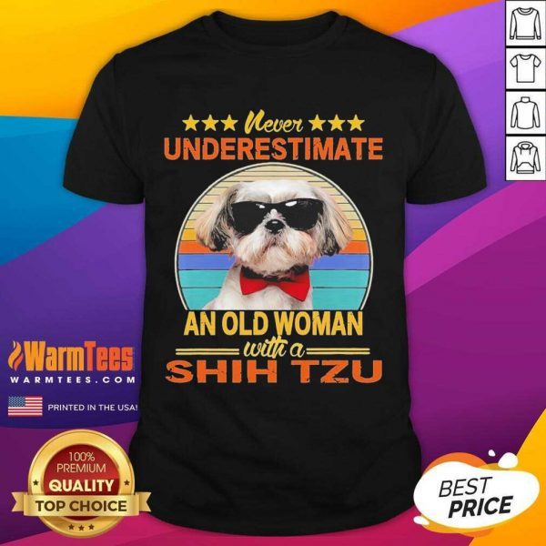 Never Underestimate An Old Woman With A Shih Tzu Vintage Shirt