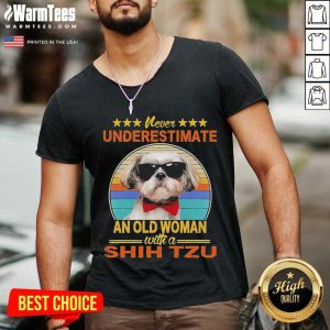 Never Underestimate An Old Woman With A Shih Tzu Vintage V-neck