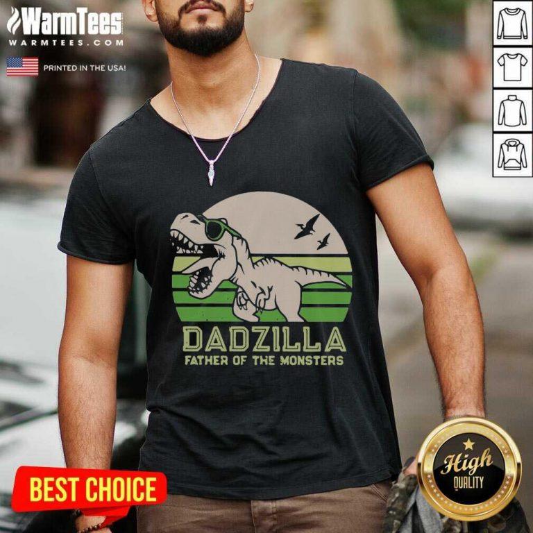 Funny Dinosaurs Dadzilla Father 54 V-neck