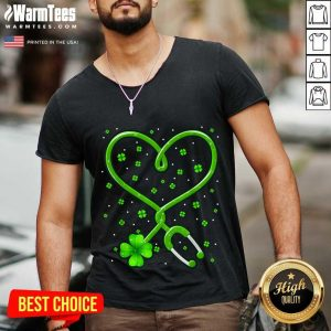 Heart Nurse Shamrock St Patricks Day V -neck