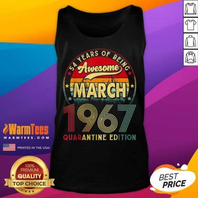 Vintage March 1967 Awesome 54th Birthday Quarantine Tank Top