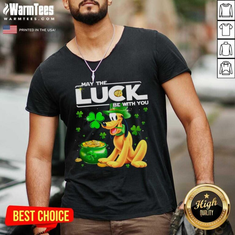Dog Pluto May The Luck Be With You St Patrick's Day V-neck