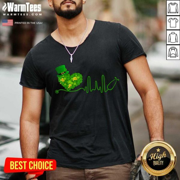 Heart Stethoscope St Patricks Day V-neck