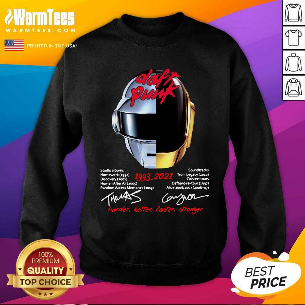 Daft Punk 1993 2021 Harder Better Faster Stronger Signatures SweatShirt