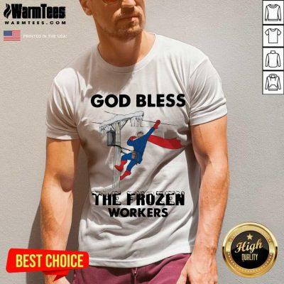God Bless The Frozen Workers Lineman V-neck