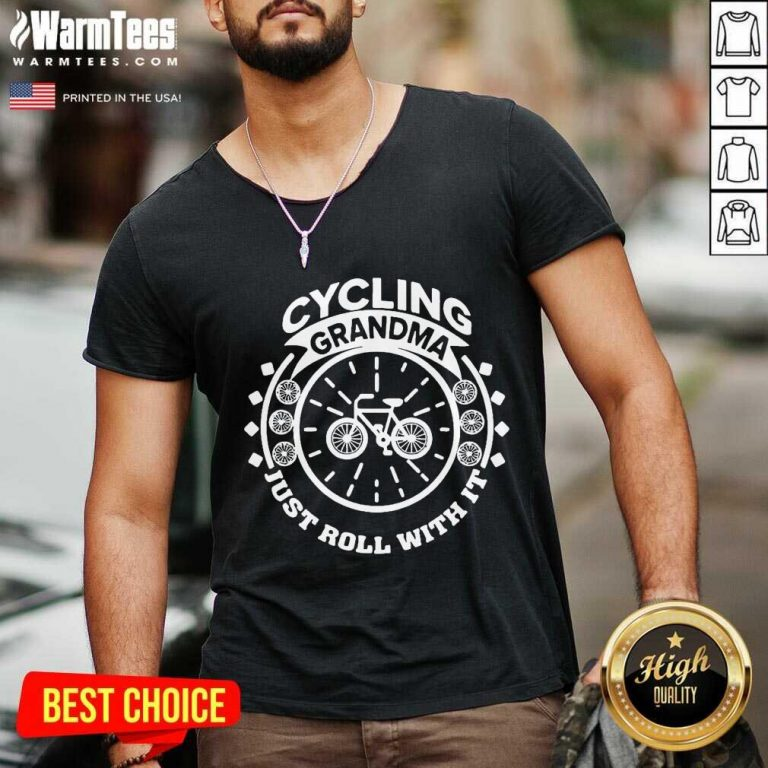 Cycling Grandma Just Roll With It V-neck