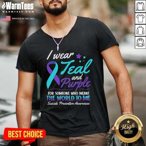 I Wear Teal And Purple Suicide Awareness V-neck