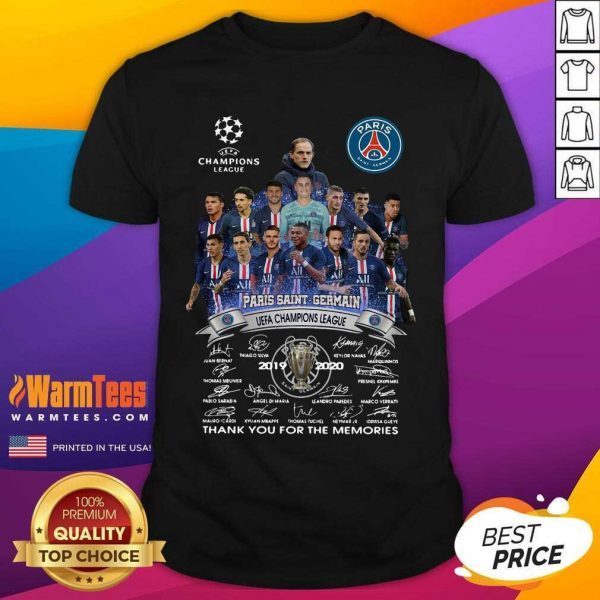 Paris Saint Germain UEFA Champions League 2019 2020 Thank You For The Memories Signatures Shirt