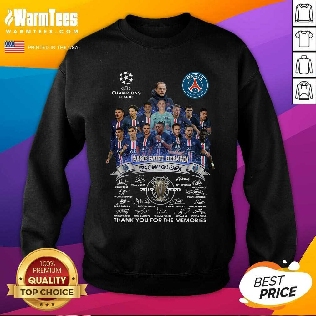 Paris Saint Germain UEFA Champions League 2019 2020 Thank You For The Memories Signatures SweatShirt
