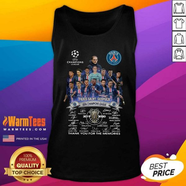 Paris Saint Germain UEFA Champions League 2019 2020 Thank You For The Memories Signatures Tank Top