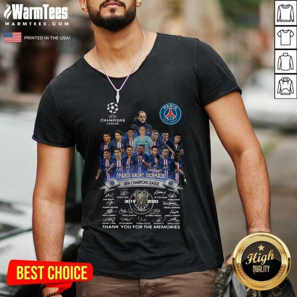 Paris Saint Germain UEFA Champions League 2019 2020 Thank You For The Memories Signatures V-neck