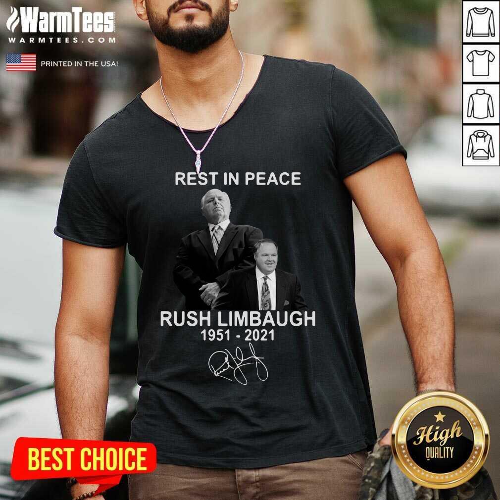 Rest In Peace Rush Limbaugh 1951 2021 Signature V-neck