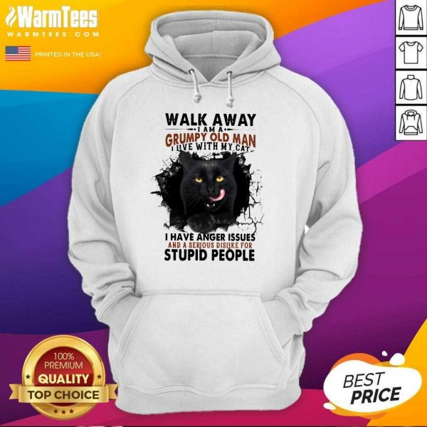 Official Walk Away Black Cat Grumpy Man Hoodie
