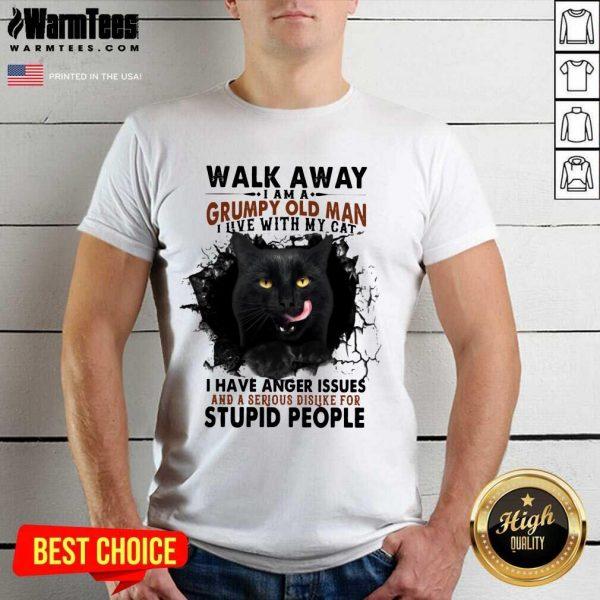 Official Walk Away Black Cat Grumpy Man Shirt