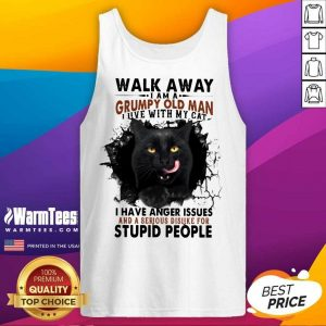Official Walk Away Black Cat Grumpy Man Tank Top