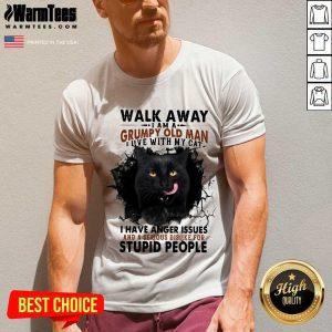 Official Walk Away Black Cat Grumpy Man V-neck