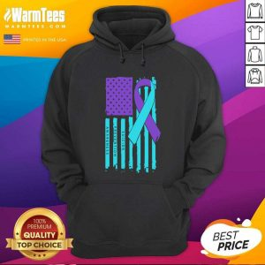 Teal And Purple Ribbon Flag Suicide Awareness Hoodie