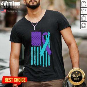 Teal And Purple Ribbon Flag Suicide Awareness V-neck