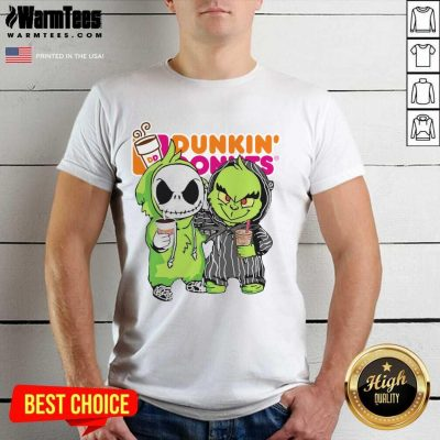 Baby Jack Skellington And Grinch Love Dunkin' Donuts Shirt