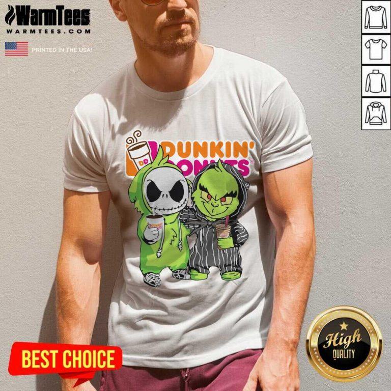 Baby Jack Skellington And Grinch Love Dunkin' Donuts V-neck