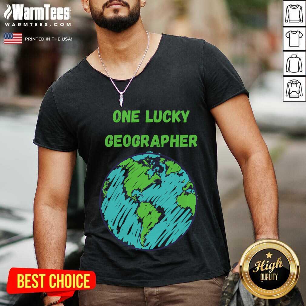 One Lucky Geographer St Patrick'S Day V-neck