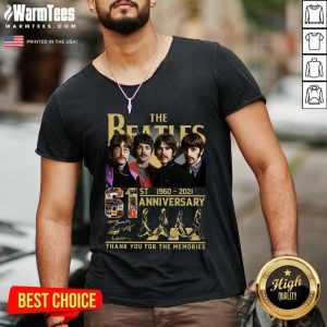 The Beatles 61st 1960 2021 Anniversary Thank You For The Memories Signatures V-neck