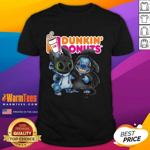Baby Toothless And Stitch Love Dunkin' Donuts Shirt