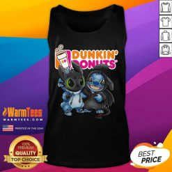 Baby Toothless And Stitch Love Dunkin' Donuts Tank Top