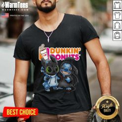 Baby Toothless And Stitch Love Dunkin' Donuts V-neck