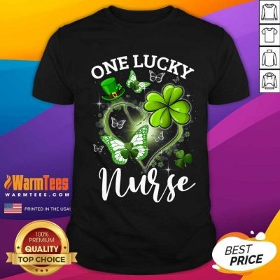 Lucky Irish St. Patricks Day Nurse Shamrock Heart Butterfly Shirt