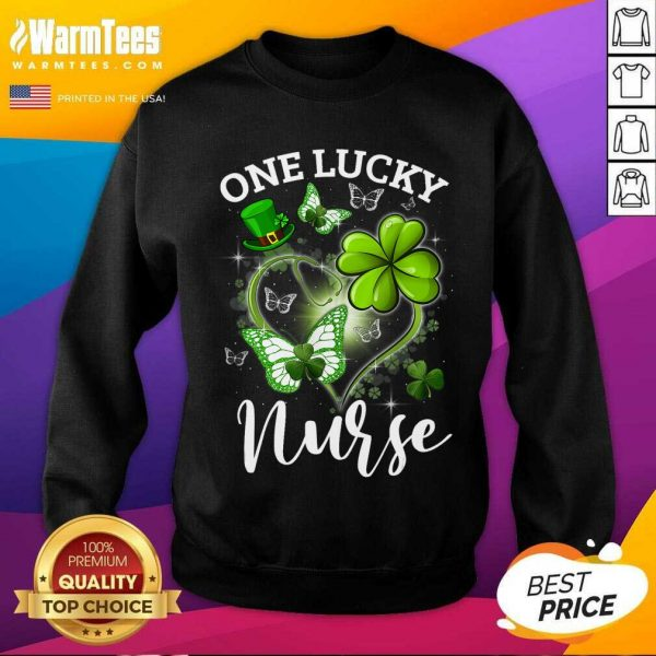 Lucky Irish St. Patricks Day Nurse Shamrock Heart Butterfly SweatShirt