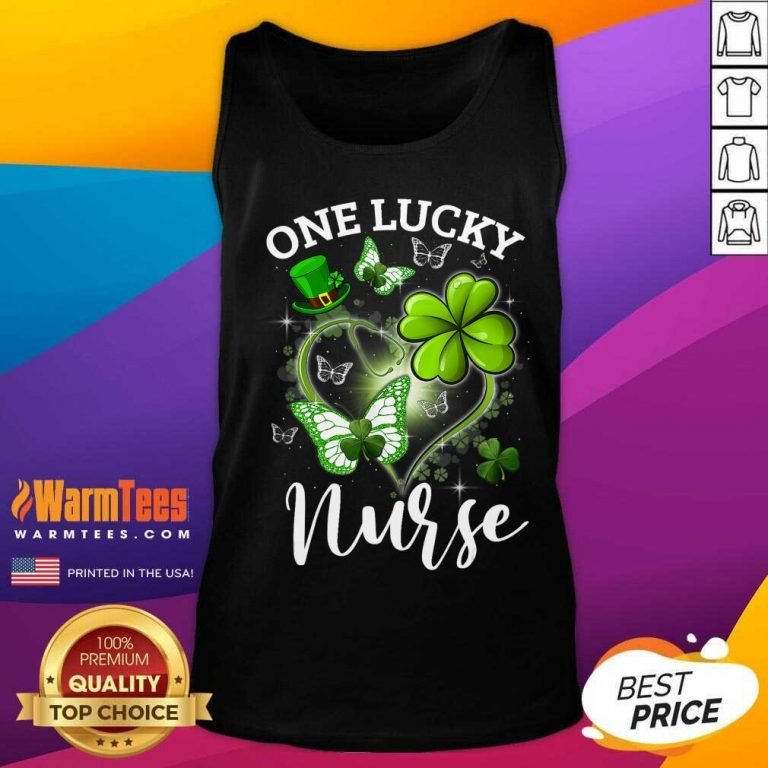 Lucky Irish St. Patricks Day Nurse Shamrock Heart Butterfly Tank Top