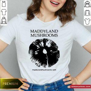 Maddyland Mushrooms With Black Image V-neck