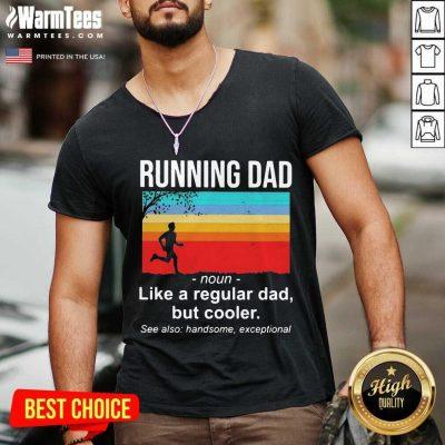 Running Dad Definition Like A Regular Dad But Cooler Vintage V-neck