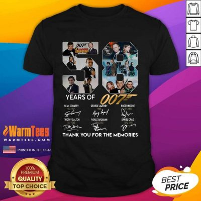 58 Years Of 007 Thank You For The Memories Signatures Shirt