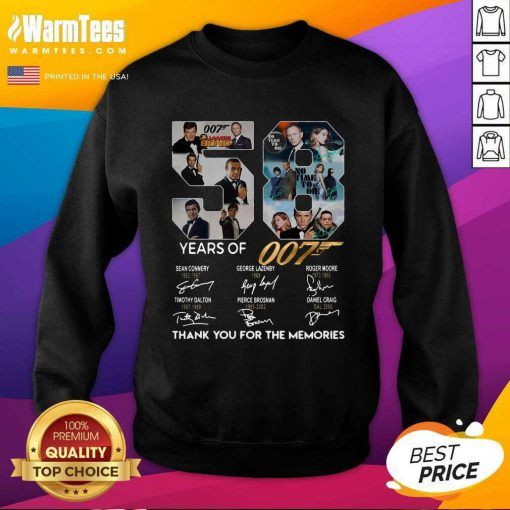 58 Years Of 007 Thank You For The Memories Signatures SweatShirt