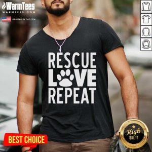 Rescue Love Repeat V-neck