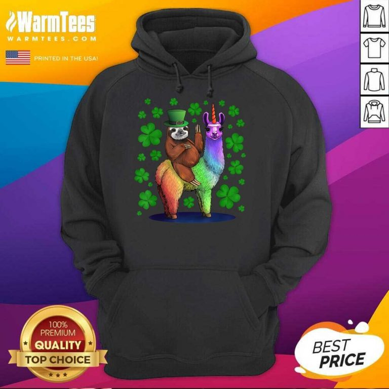 Leprechaun Sloth Riding Llama Unicorn St Patricks Day Hoodie