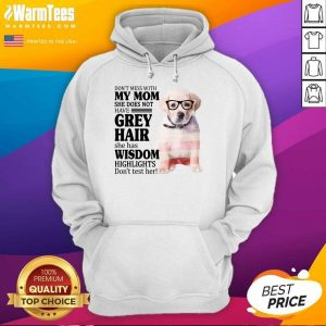 Good Goldador My Mom Grey Hair Wisdom Highlights American Flag Hoodie