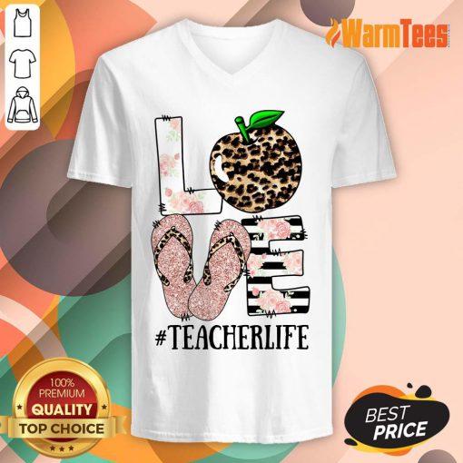 Love Apple Teacher Life V-neck