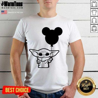 Star Wars Baby Yoda Holding Balloon Mickey Mouse Shirt