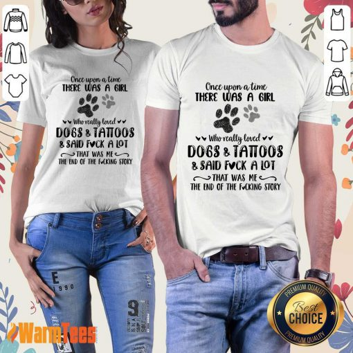 A Girl Who Really Loved Dogs And Tattoos Ladies Tee