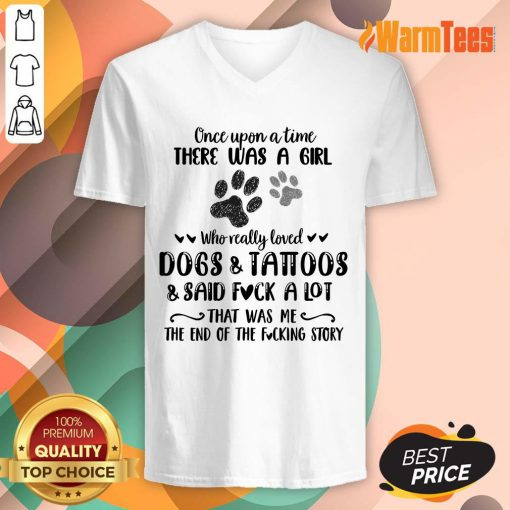 A Girl Who Really Loved Dogs And Tattoos V-neck