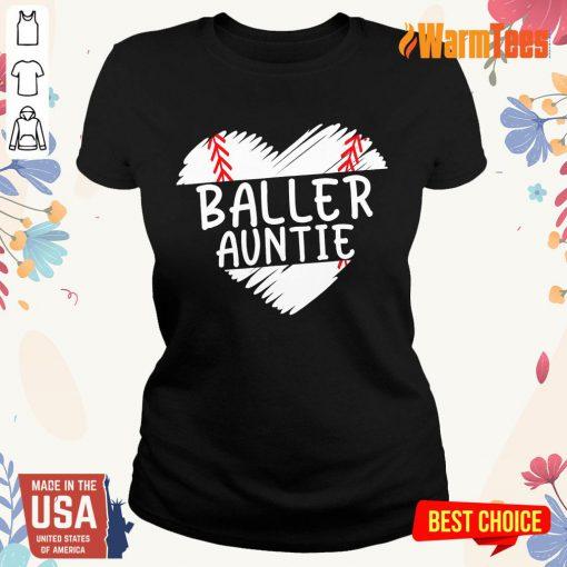 Aunt Baseball Heart Ladies Tee