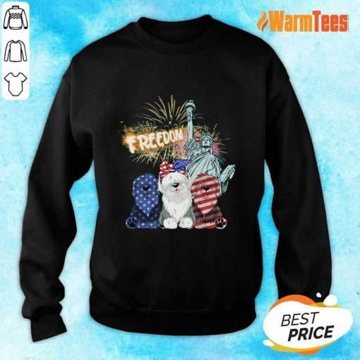 Freedom Sheepdog Statue Of Liberty USA Flag Sweater