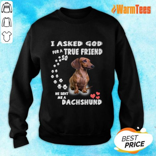I Asked God True Friend Cute Dachshund Sweater