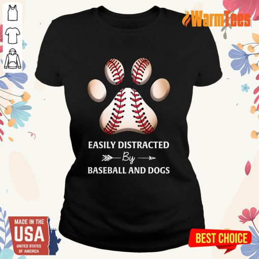 Paw By Baseball And Dogs Ladies Tee